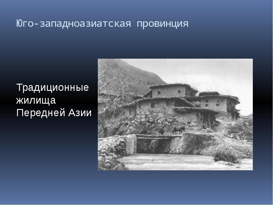 Юго-западноазиатская провинция Традиционные жилища Передней Азии