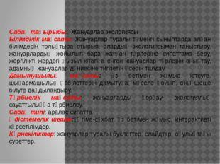 Сабақ тақырыбы: Жануарлар экологиясы Білімділік мақсаты: Жануарлар туралы төм