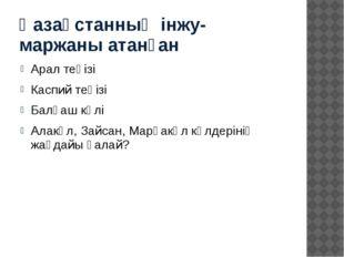 Қазақстанның інжу-маржаны атанған Арал теңізі Каспий теңізі Балқаш көлі Алакө