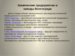 Химические предприятия и заводыВолгограда Доля в общем объеме промышленного