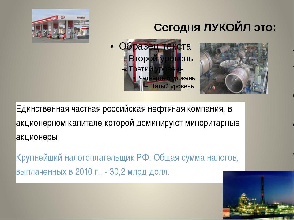 Сегодня ЛУКОЙЛ это: Единственная частная российская нефтяная компания, в акци...