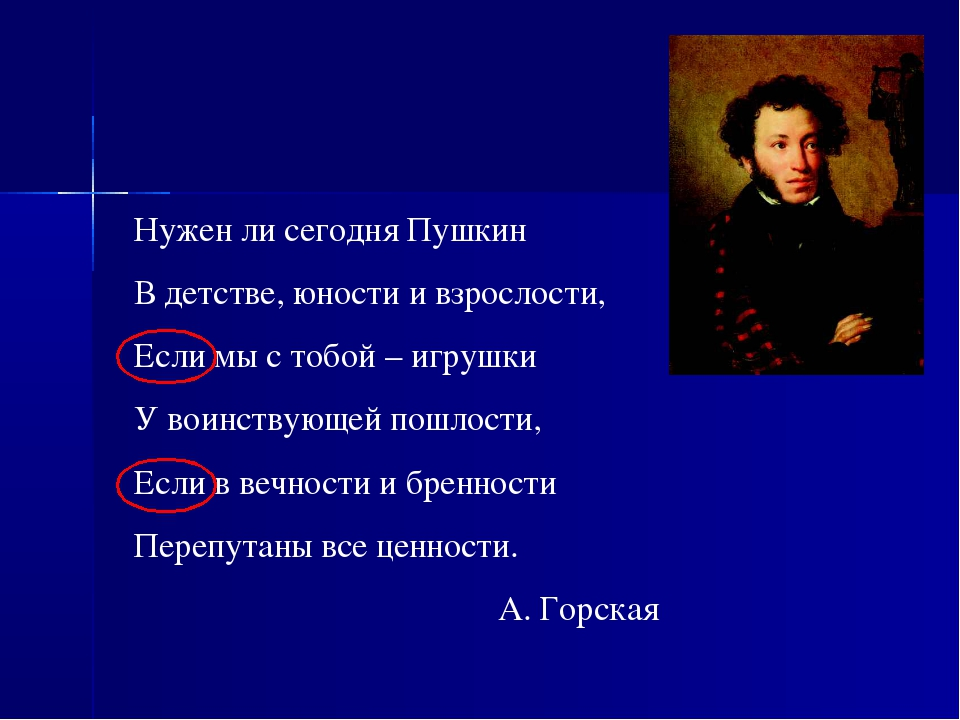 Нужен ли сегодня Пушкин В детстве, юности и взрослости, Если мы с тобой – игр...
