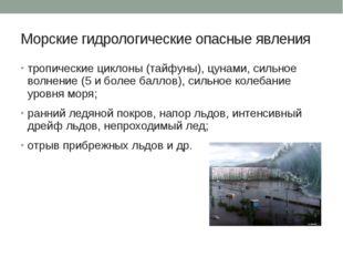 Морские гидрологические опасные явления тропические циклоны (тайфуны), цунами