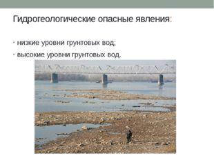 Гидрогеологические опасные явления: низкие уровни грунтовых вод; высокие уров