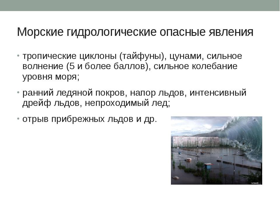 Морские гидрологические опасные явления тропические циклоны (тайфуны), цунами...