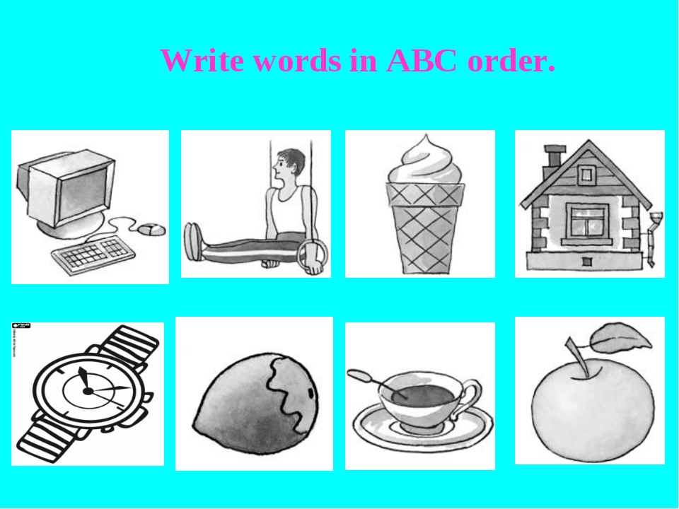 Write words in ABC order.