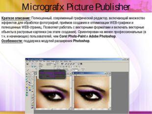 Краткое описание:Полноценный, современный графический редактор, включающий м