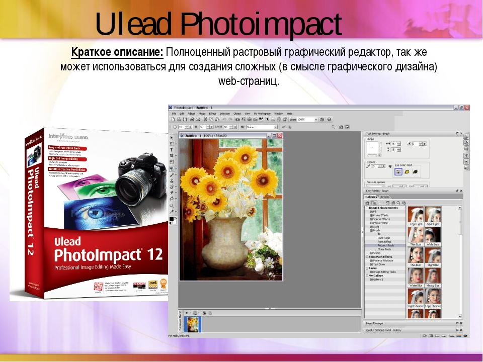 Краткое описание:Полноценный растровый графический редактор, так же может ис...
