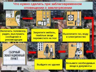 Что нужно сделать при заблаговременном оповещении о землетрясении Включить те
