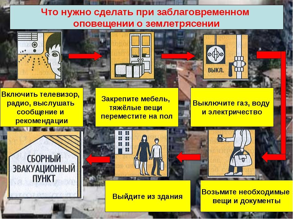 Что нужно сделать при заблаговременном оповещении о землетрясении Включить те...