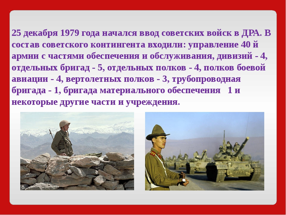 25 декабря 1979 года начался ввод советских войск в ДРА. В состав советского...