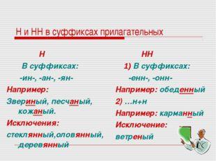 Н и НН в суффиксах прилагательных