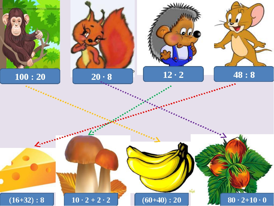 100 : 20 48 : 8 12 · 2 20 · 8 (16+32) : 8 10 · 2 + 2 · 2 (60+40) : 20 80 · 2+...