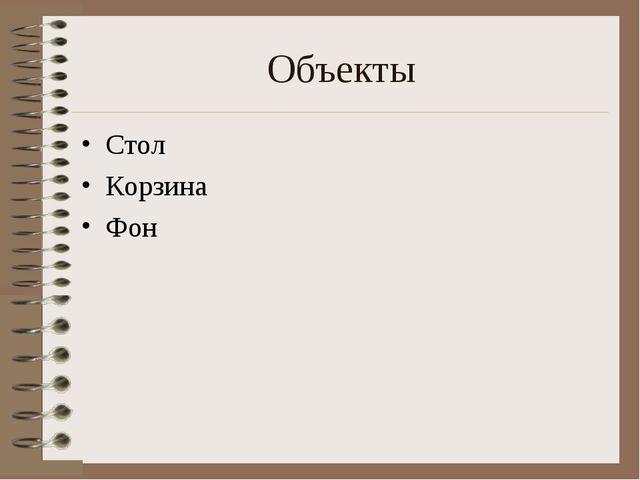 Объекты Стол Корзина Фон