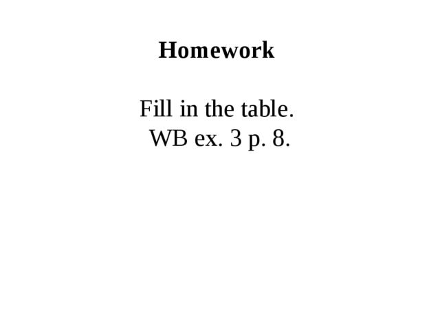 Homework Fill in the table. WB ex. 3 p. 8.
