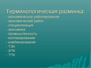 Терминологическая разминка: - экономическое районирование - экономический рай