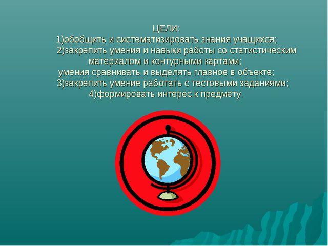 ЦЕЛИ: 1)обобщить и систематизировать знания учащихся; 2)закрепить умения и на...
