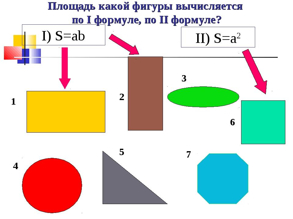 Площадь какой фигуры вычисляется по I формуле, по II формуле? 1 2 3 4 5 6 7 I...