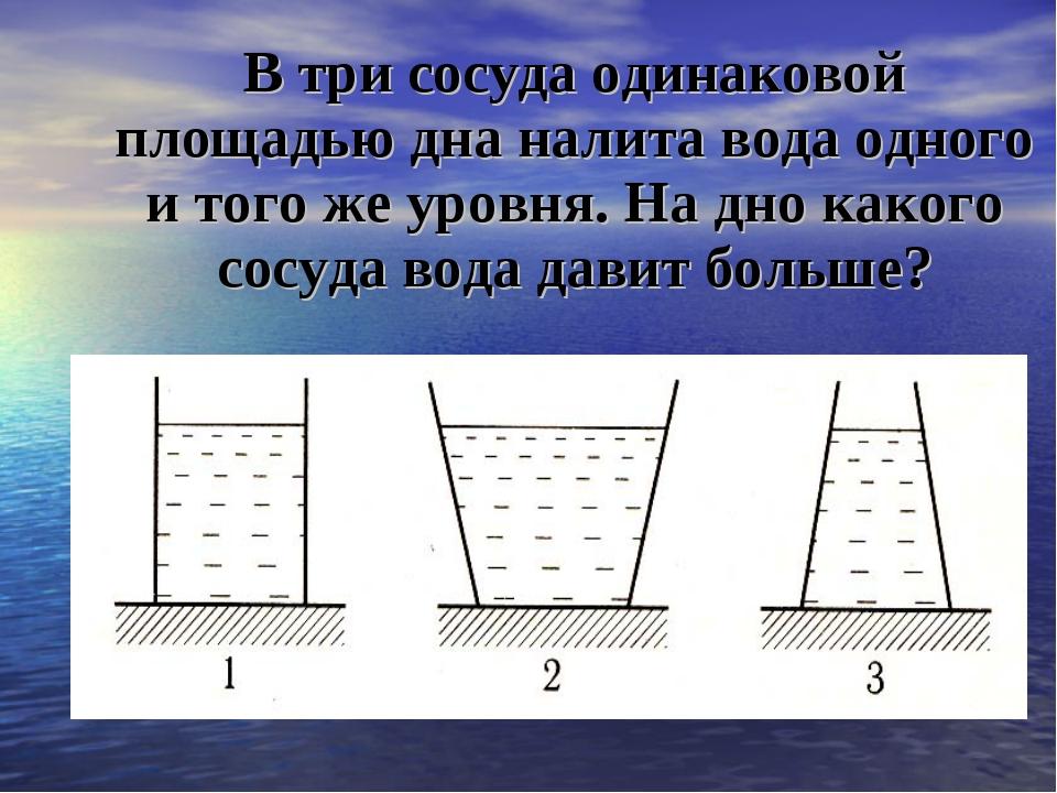 В три сосуда одинаковой площадью дна налита вода одного и того же уровня. На...