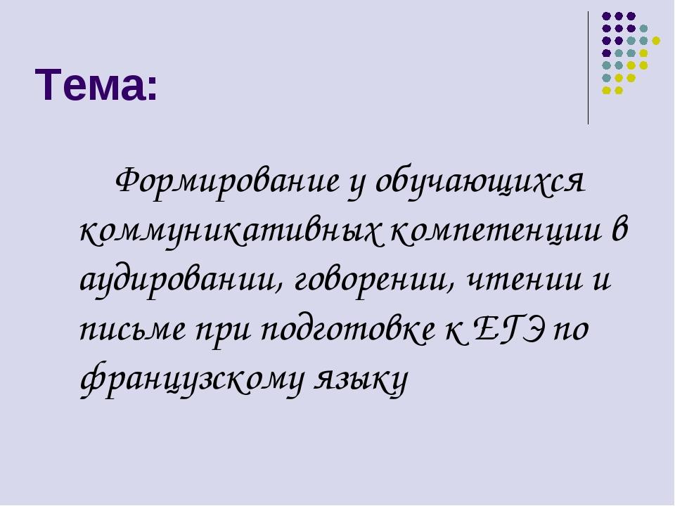 Тема: Формирование у обучающихся коммуникативных компетенции в аудировании, г...