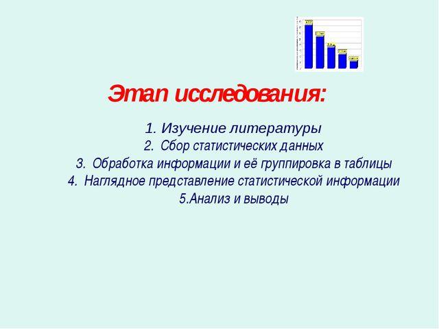 Этап исследования: Изучение литературы Сбор статистических данных Обработка и...
