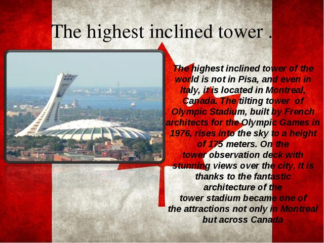 The highestinclinedtower . The highestinclinedtowerof the world isnoti...