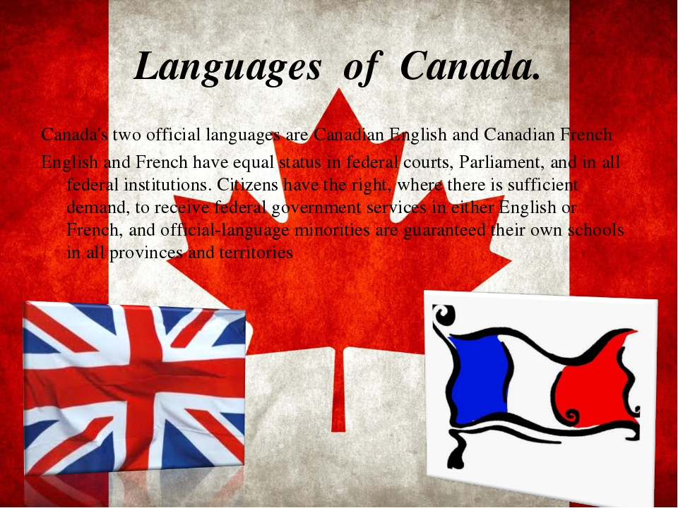 Languages of Canada. Canada's two official languages are Canadian English and...