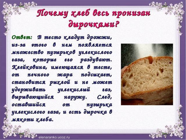 Почему хлеб весь пронизан дырочками? Ответ: В тесто кладут дрожжи, из-за этог...