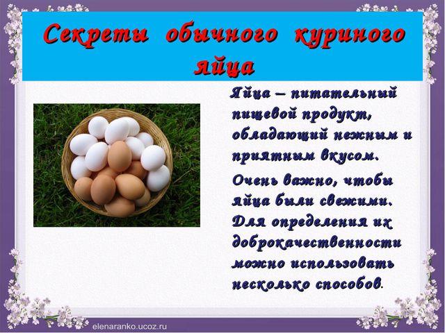 Секреты обычного куриного яйца Яйца – питательный пищевой продукт, обладающий...