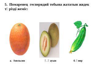 5. Помаренец гесперидий тобына жататын жидек тәрізді жеміс: а. Апельсин ә. Қа