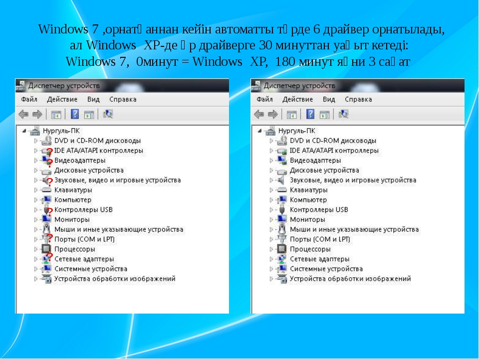 Windows 7 ,орнатқаннан кейін автоматты түрде 6 драйвер орнатылады, ал Window...