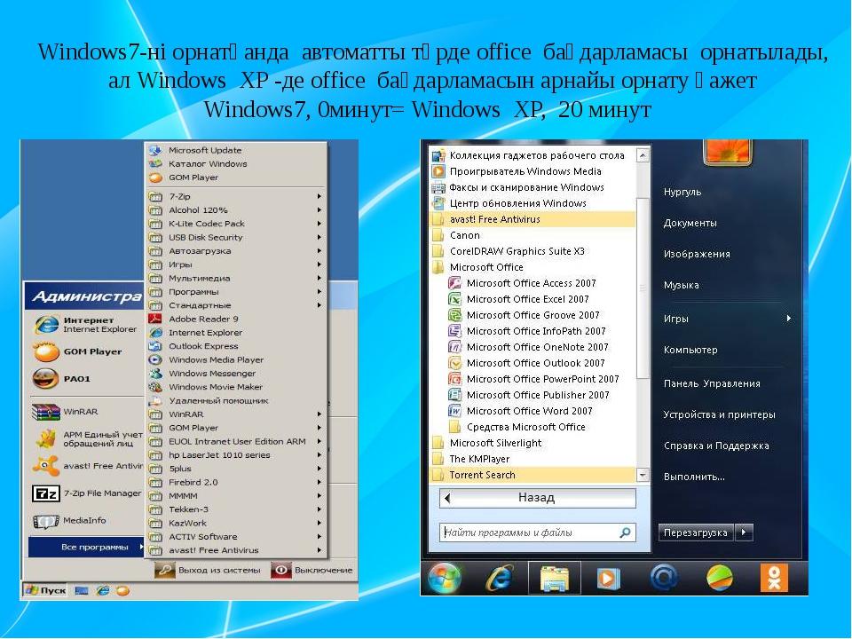 Windows7-ні орнатқанда автоматты түрде office бағдарламасы орнатылады, ал Win...