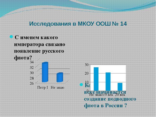 Исследования в МКОУ ООШ № 14 С именем какого императора связано появление рус...
