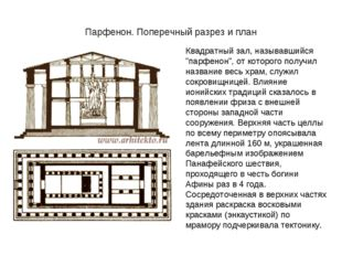 """Парфенон. Поперечный разрез и план Квадратный зал, называвшийся """"парфенон"""", о"""