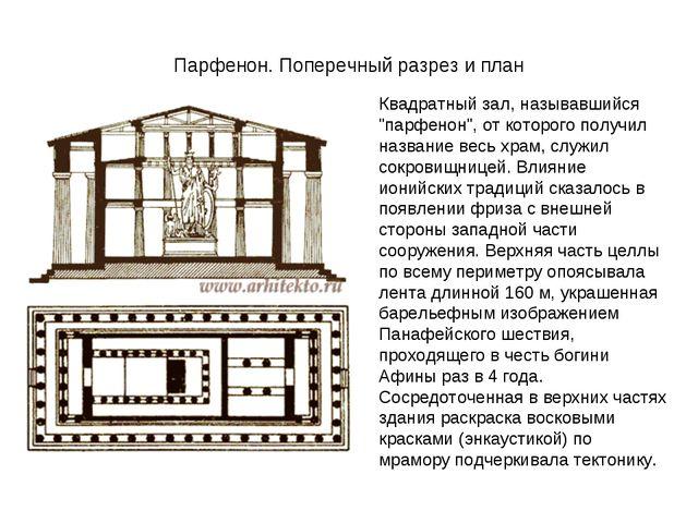 """Парфенон. Поперечный разрез и план Квадратный зал, называвшийся """"парфенон"""", о..."""
