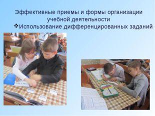 Эффективные приемы и формы организации учебной деятельности Использование диф