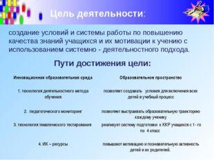 Цель деятельности: Пути достижения цели: создание условий и системы работы по