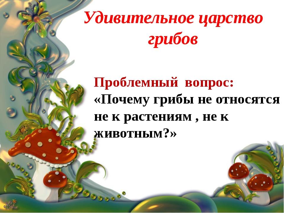 Удивительное царство грибов Проблемный вопрос: «Почему грибы не относятся не...