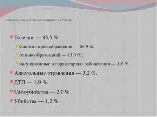 Основные классы причин смертности в России: Болезни— 85,5% Система кровооб