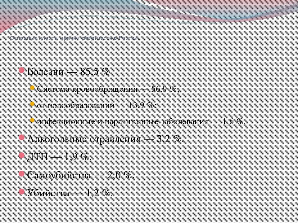 Основные классы причин смертности в России: Болезни— 85,5% Система кровооб...