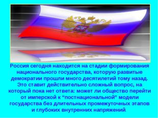 Россия сегодня находится на стадии формирования национального государства, ко