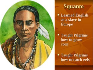 Squanto Learned English as a slave in Europe Taught Pilgrims how to grow corn