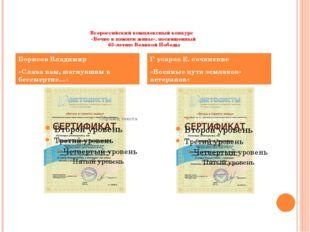 Всероссийский комплексный конкурс   «Вечно в памяти живы», посвященный  65-ле