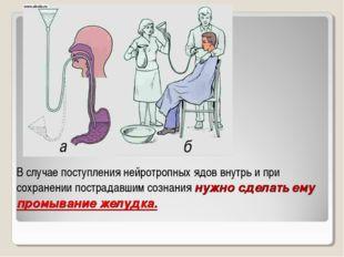 В случае поступления нейротропных ядов внутрь и при сохранении пострадавшим с