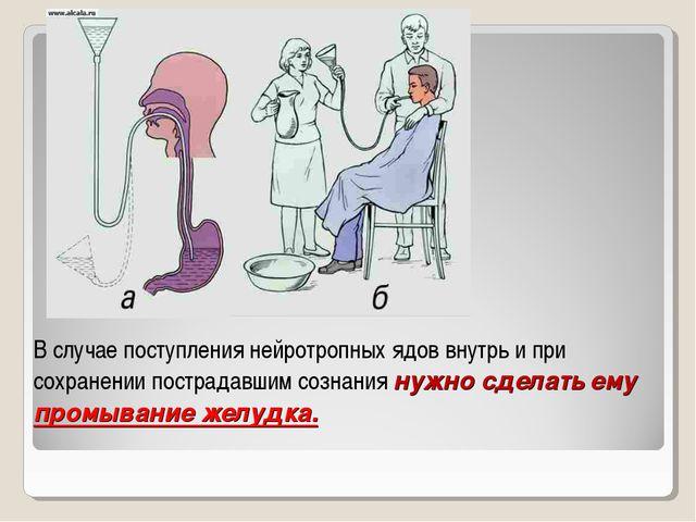 В случае поступления нейротропных ядов внутрь и при сохранении пострадавшим с...