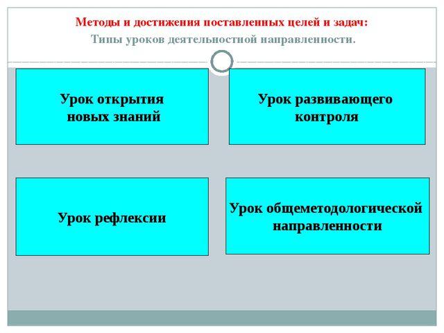 Методы и достижения поставленных целей и задач: Типы уроков деятельностной на...