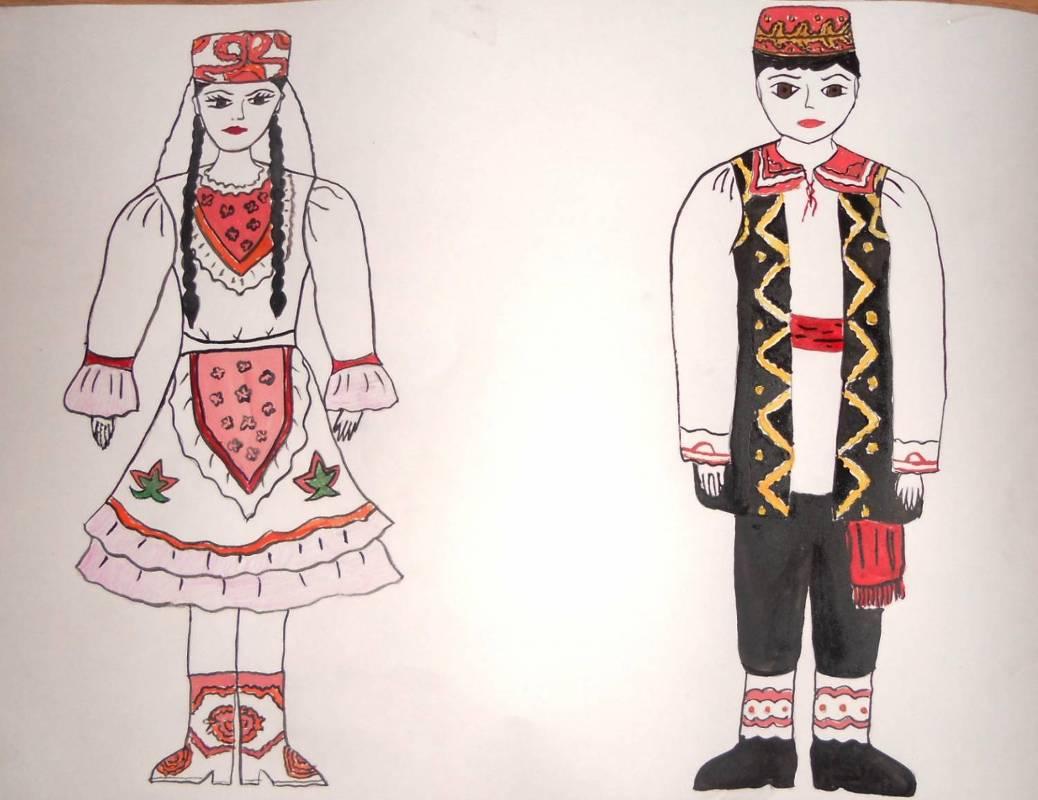 Татарский национальный костюм картинки для детей как нарисовать