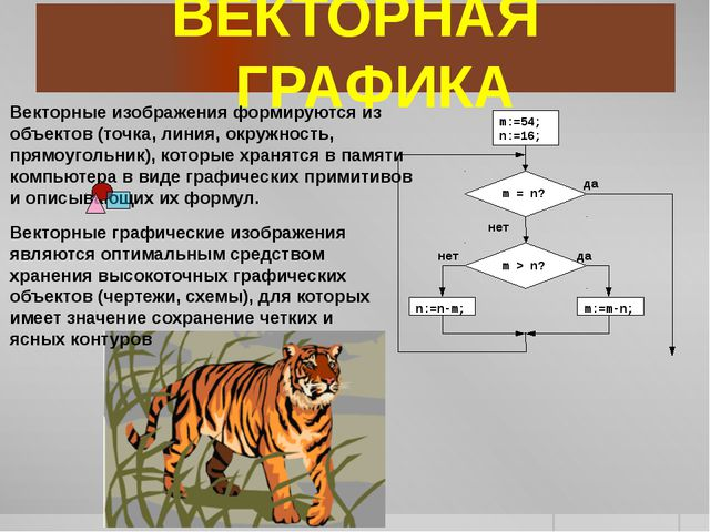 ВЕКТОРНАЯ ГРАФИКА Векторные изображения формируются из объектов (точка, линия...