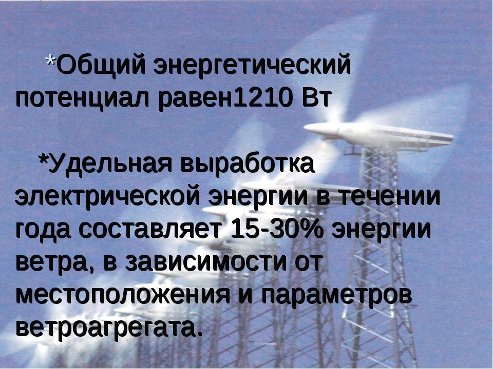 *Общий энергетический потенциал равен1210 Вт *Удельная выработка электрическ...