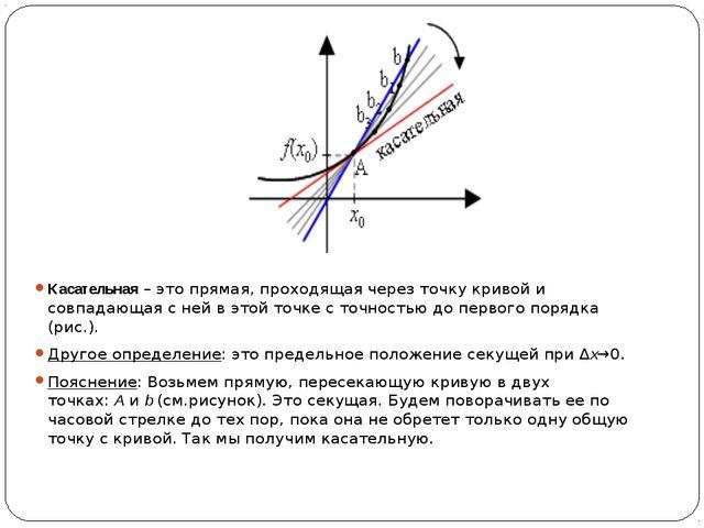 Касательная– это прямая, проходящая через точку кривой и совпадающая с ней...